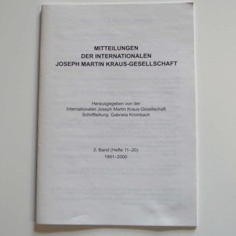 Mitteilungen der Internationalen Joseph Martin Kraus-Gesellschaft 2. Registerband (Heft 11-20)