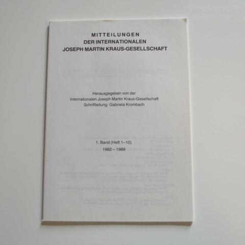 Mitteilungen der Internationalen Joseph Martin Kraus-Gesellschaft 1. Registerband (Heft 1-10)